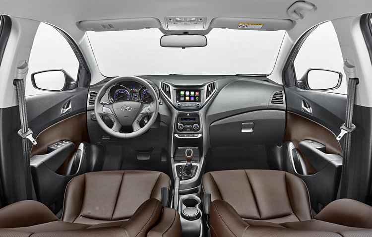 Novo acabamento interno em couro marrom é top - Hyundai/ divulgação