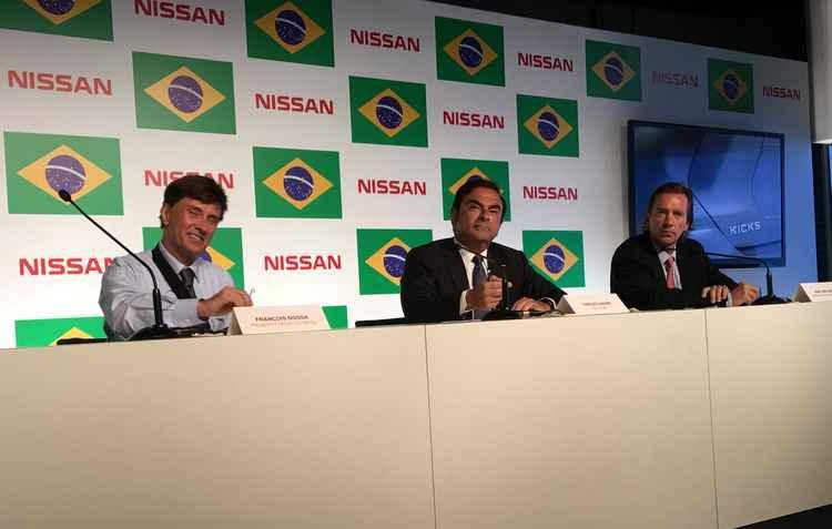 François Dossa, presidente da Nissan do Brasil Carlos Ghosn, CEO da Nissan José Luis Valls, chairman América Latina - Jorge Moraes/ DP/ D.A Press