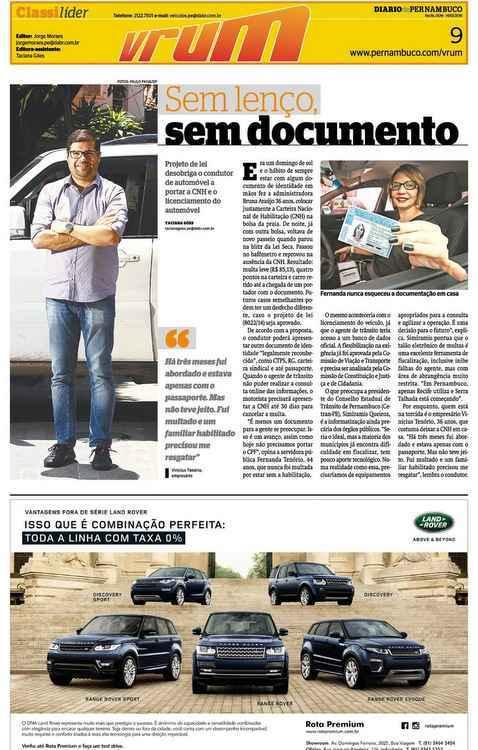 Capa do Vrum publicada na edição do dia 14/02/16 do Diario de Pernambuco - Reprodução