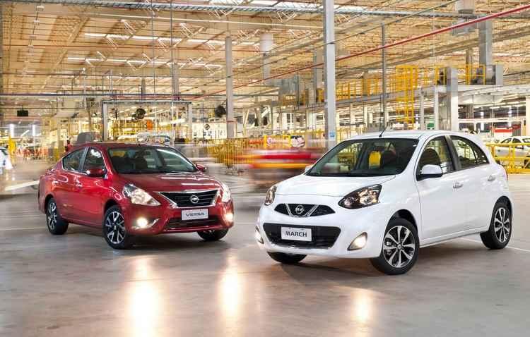 Versa e March são produzidos no Brasil e apresentam bom volume de vendas - Nissan / Divulgação