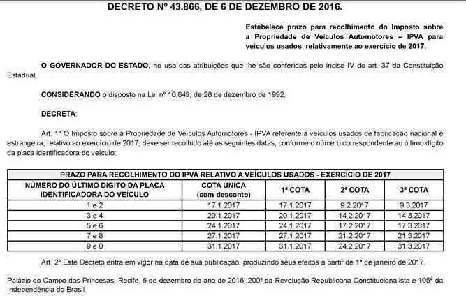 Reprodução / Diario Oficial