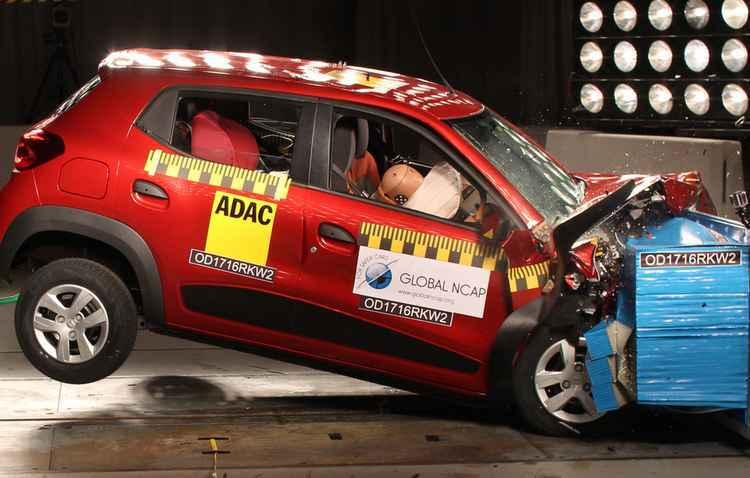 Kwid fez testes de impacto a 64 km/h e não oferecia nenhum item opcional de segurança - Global NCAP / Divulgação