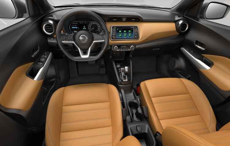 Provável versão top exibe acabamento em couro marrom e tela com câmera de 360 graus - Nissan / Divulgação