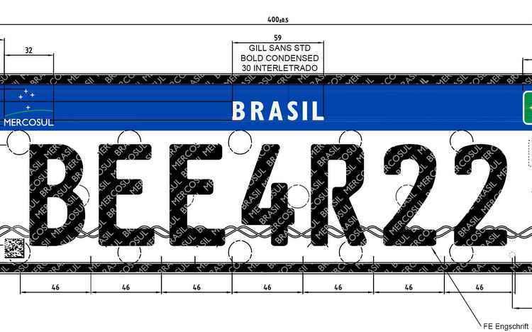 Modelo do padrão Mercosul terá fundo branco com a parte superior com uma faixa azul, com o lado esquerdo possuindo o logotipo do Mercosul, o lado direito a bandeira do Brasil - Denatran / Divulgação
